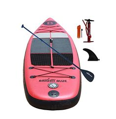 Bright Blue Inflatable Stand Up Paddle board Thick) with Pump, Paddle, Fin, New Model ISUP Paddle Boarding, New Model, Stand Up, Surfboard, Skateboard, Pumps, Bright, Amazon, Sports