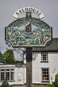 Salhouse village sign, Norfolk, England.
