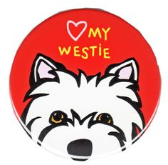 "<p><span style=""color: #ff0000;""><strong>Cute Westie Face</strong></span> with ""(heart) my Westie"" on a 3"" magnet by artist Marc Tetro.</p>"
