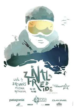Awesome combo of watercolor texture, whites pace, color, handwritten script.  So clean and so much character.    Zinal Freeride 2013, Zinal Switzerland