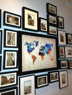 "World map surrounded by photos from your travels. Love it! ""Our House is Y'alls House: June 2013"""