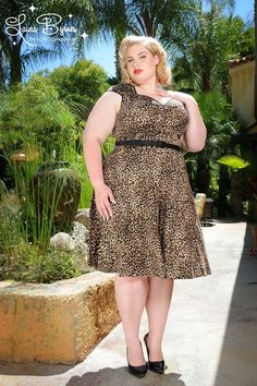 """Heidi Dress in Leopard by Pinup Couture - Plus Sizes - Our """"Heidi is the cute sister dress of our Natasha dress. Perfect for any season, this mini swing pinup dress combines the 1950's pinup with a modern twist with the shorter hem swing skirt. This dress features black sateen trim along the angular neckline, and sleeves. This dress also comes with a matching black sateen 1 inch slide belt, and a 23 inch zipper to allow the smoothest fit."""
