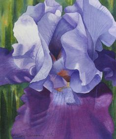 "Contemporary Painting - ""Purple Iris"" (Original Art from Marcy Lansman)"