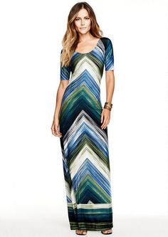 Green Multicolor Abigail Chevron Stripe Print Maxi Dress @ Alloy $40