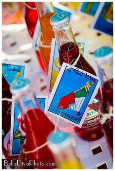 Mexican soda and playing cards used as place/escort cards ! Adorable. If you change it up a little, perfect for a wedding.