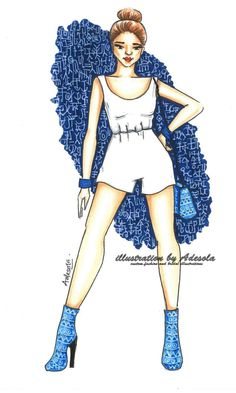 #fashionillustration Instant download White jumpsuit with blue tribal boots fashion illustration with patterned background. Wall art for girl room or closet room by IllustrationbyDesola on Etsy
