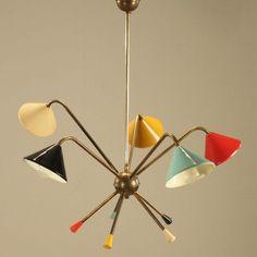 ancien 1950 lustre plafonnier lampe suspension Stilnovo mategot vintage lamp rar - Buscar con Google