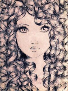 Hair, drawing pencil art in 2019 draw, curly hair drawing, curly ha Amazing Drawings, Beautiful Drawings, Cool Drawings, Drawing Sketches, Amazing Art, Sketching, Drawing Eyes, Pretty Drawings, Beautiful Images