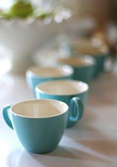 vintage tea cups.  I love the white interior.