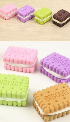 Cute set of four erasers shaped like bourbon biscuits in various colours. There are two sets; one with a dark brown biscuit and another with a pale one. Random selection  Iwako erasers are very popular in Japan.