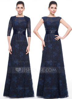 A-Line/Princess Scoop Neck Floor-Length Lace Mother of the Bride Dress With Ruffle Beading Sequins (008058425) - JJsHouse