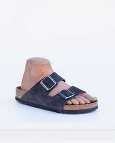 Our iconic two-strap style, the Arizona, is known for being the epitome of comfort. Both straps have buckles for a fantastic fit. Offered in soft footbed in Velvet Gray Suede. Made in Germany. DETAILS