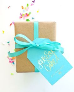 Lets Eat Cake! Gold foil gift tags from Ashley Brooke Design