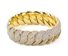 Hulchi Belluni Easy collection stretch diamond bracelet in 18k yellow gold set with 12.64cts. in pave set diamonds. Available for purchase online at www.leonardojewelers.com and in our Red Bank, NJ and Elizabeth, NJ stores.