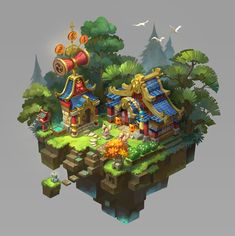 japanese style by Erin Lin. Isometric Map, Isometric Design, Environment Concept Art, Environment Design, Game Environment, Minecraft, Gfx Design, Game Concept Art, Cg Art