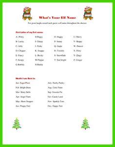 Christmas Baby Shower Games - Elf name ice breaker
