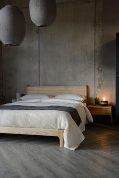 New Carnaby bed - shown here in solid ash - exclusive from Natural Bed Company. Handmade beds made in Sheffield.