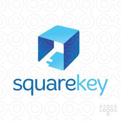 The negative space within a cube forms a key in this modern, 3d, blue faceted logo design. Related keywords: lock, door, keyhole, unlock, etc.