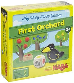AWESOME first board game! It's a player vs. raven not player vs player so no winner, per se. A game & a playset in one. First Orchard HABA http://www.amazon.com/dp/B004BW8TYC/ref=cm_sw_r_pi_dp_Meh.vb1PGPY22