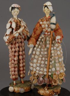 Pair of Shell Dolls, (German woodens from the Grodner Tal) that are in our opinion, the perfect size at eight and one-half inches. Circa 1830