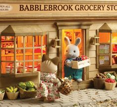 Monday morning is always busy one for Grocery Store proprietor Rocky. All the fresh produce Sylvanian Families, Calico Critters Families, Fairytale Art, 90s Childhood, Light Of My Life, Cute Toys, Deco, Dolls, Monday Morning