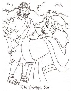 Parable of the Lost (Prodigal) Son - coloring page (From my favorite, unknown artist who depicted Bible stories ~ ever!)