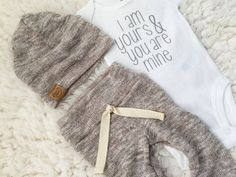 gender neutral oatmeal newborn outfit  by PaisleyPrintsSpokane