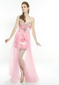 Satin & Tulle Sweetheart Empire High Low Sheath/ Column Prom Dresses