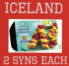 Iceland chicken and chorizo kebab syns Slimming Word, Slimming World Syns, Slimming World Recipes, Iceland Slimming World, Syn Free Food, Chicken Chorizo, Frozen Chicken, Diet Recipes, Dieting Foods