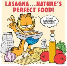 This Chicken Asparagus Lasagna is creamy, cheesy, and full of chicken and tender-crisp asparagus. It's the lasagna variation you've been looking for! Garfield Birthday, Garfield Quotes, Garfield Cartoon, Garfield And Odie, Garfield Comics, Cartoon Cats, Food Cartoon, Cartoon Drawings, Garfield Lasagna