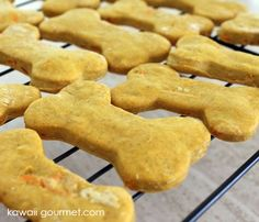 Use the rice flour for these pumpkin-present butter dog treats.