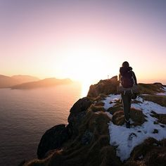 @outdoorwomen featured Instagram user @sean_ensch_images snapshot of @othiliehoem during a sunset hike along the coast of one of Norway's many fjords. #hiking #norway #fjord #sunset