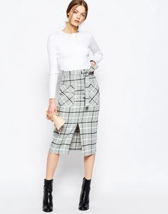 ASOS Premium Check Pencil Skirt with Pocket Detail