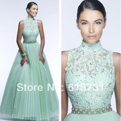 2014 New Fashion High Neck Applique Pleated Tulle Beaded Ball Gown Red Mint Green Lace Prom Dresses Long Evening with Open Back