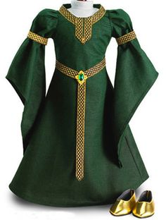 "Green CELTIC PRINCESS DRESS + SHOES made for 18"" American Girl Doll Clothes"