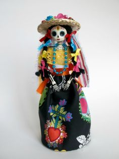 Sacred Heart Colorful Mexican Paper mache Catrina by LaCasaRoja