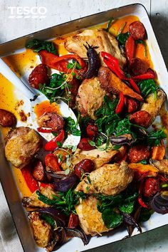 Take the hassle out of cooking with this simple chicken traybake recipe. This easy dinner has succulent chicken, spicy chorizo and tender veg all cooked in one go. Toss through some wilted spinach and you've got a family meal minus the fuss. Meat Recipes, Chicken Recipes, Dinner Recipes, Cooking Recipes, Healthy Recipes, Chicken Treats, Chorizo Recipes, Dinner Ideas, Recipies
