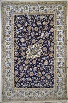 Isfahan Pardeh 5'x8' persian area silk rug   Size: 230 x 150 (cm)      7' 6 x 4' 11 (ft)