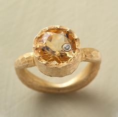 GOLDENEYE RING ~~ A Tiny Winking Diamond Set Into the Sparkling Surface of a Stunning Faceted Citrine Framed in Hand-Hammered 22kt Gold Vermeil- ♥ !!