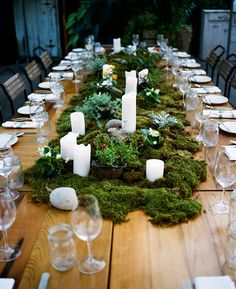 Moss table runner on timber exposed table