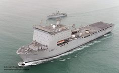RFA Lyme Bay is pictured operating near Kuwait during a maritime capability and security demonstration.