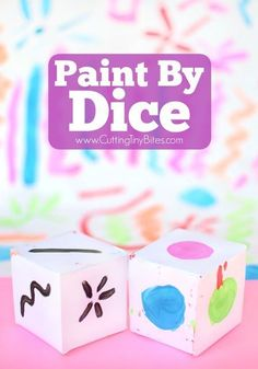 Paint By Dice- process art painting activity for toddlers, preschoolers, kindergarten, or elementary kids! Open-ended art at its finest! Arts And Crafts Projects, Projects For Kids, Fun Crafts, Crafts For Kids, Fine Motor Activities For Kids, Toddler Activities, Kindergarten Art, Preschool Activities, Painting For Kids