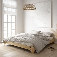 Elan bed nature of Karup Design in the bedroom Small Apartment Interior, Tatami Mat, Japanese Interior Design, Appartement Design, Futon Mattress, Wood Beds, Home Living, Bed Design, Bed Frame