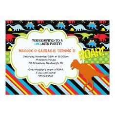 Bright Modern Dinosaur Birthday Party Invitation