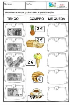 Tengo, Compro, Me queda Educational Activities For Kids, Math Activities, Money Worksheets, Money Games, Primary Maths, Math Projects, Math Addition, Second Grade Math, Math Class