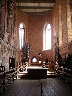 Malbork Castle-The Church of Our Lady is still undergoing reconstruction, but visitors see the remnants of the original church, including floor tiles and statuary. The Church of Our Lady is identifiable from its grand entrance - dating from the end of the 13th century - called the Golden Gate.