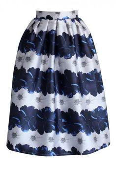 Blue Dahlia Printed A-line Midi Skirt