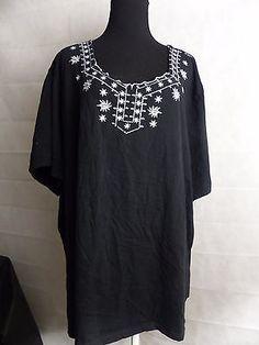 Liz & Me Black Shirt Short Sleeve Casual Cotton Top Size 4X 30/32