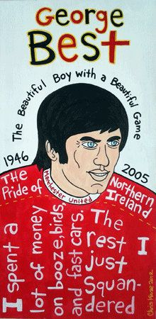 George Best Mixed Media Football / Soccer Folk Art on Wood. $140.00, via Etsy.