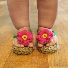 cute little crocheted sandals with jute or sisal sole. Pattern available for sizes newborn to 2 years @ etsy shop Mamachee